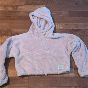 UA Urban Outfitters pink teddy hoodie cropped sm